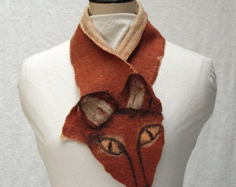 Fox Scarflette - Hand Felted Merino Wool - Woodland- Animal Scarf - Fox Scarf - Brown