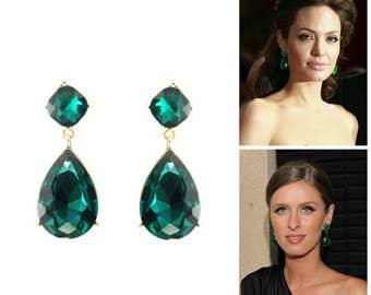 Emerald Post Earrings Angelina Jolie Emerald Green Stud Inspired Style Teardrop Drop Estate Style Earrings