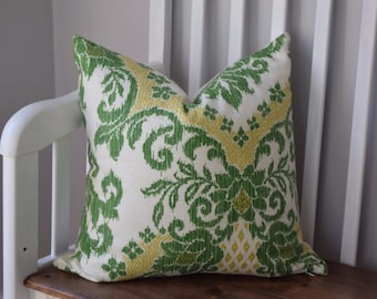 Green and White Ikat Floral Pillow Cover