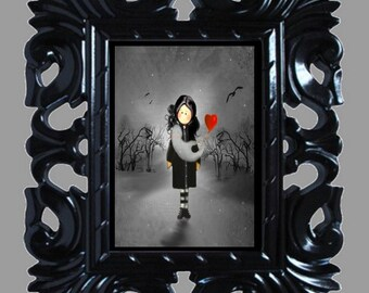 Halloween Art Print -- A Girl and A Ghost -- Goth Girl - Ghost - Heart - 8x10