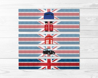 UK British Water Bottle Wraps -- Union Jack, Police Box, Royal Guard, Phone Booth, London Birthday, Printable, Instant Download