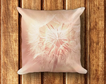 "Pink Floral Pillow - 18"" x 18"" Square Pillow with insert - Pink Dandelion Print on Front and Back"