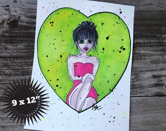 Watermelon 9 x 12 Big Eyed Watercolor Painting, Modern, Wall Art, Painting, Dollie, Big Eyed Girl, Big Eye Doll Art