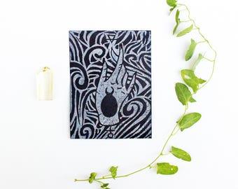 ALCHEMY HAND,  Linocut Print, Color Change Print, Linocut Card, Linocut Block Print, Art Prints, Occult Print