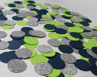 Nautical Confetti- Blue, Green, Silver Confetti- Boy's Birthday Party- Circle Confetti- Birthday Party Decor- Ready to Ship
