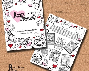 INSTANT DOWNLOAD Roots Of The Heart Coloring Book Print Doodle Art Printable Valentines Day