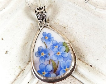 Forget Me Nots Teardrop Broken China Jewelry Sterling Pendant Necklace