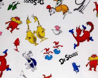 Cat in the Hat toss white fabric, Dr Seuss fabric, kids fabric 100% cotton for Quilting and all sewing projects