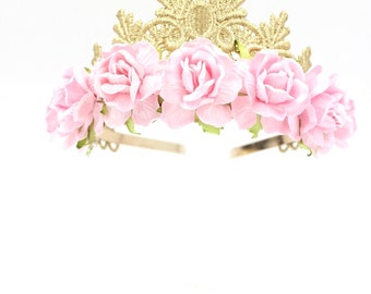 Tallulah gold lace TIARA with large pink roses    Flower girl or Bridesmaid crown