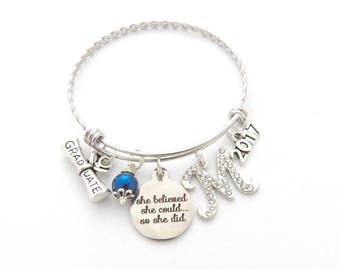 Class of 2018 Graduation Bangle bracelet-Senior Grad, Gifts for Graduates-She believed she could so she did High school college graduation