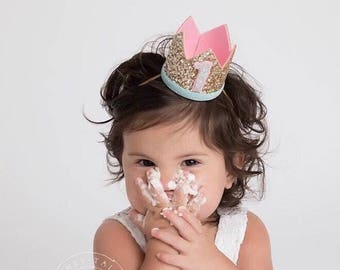1st Birthday Crown Of Glitter For Girl | 1st Birthday Crown | Birthday Crown | 1st Baby Birthday Crown | 1st Girl Birthday Crown