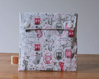 Reusable sandwich bag, reusable snack bag, fabric bag with Cats in grey2 print [#217], eco friendly, no waste lunch box, washable, useful!