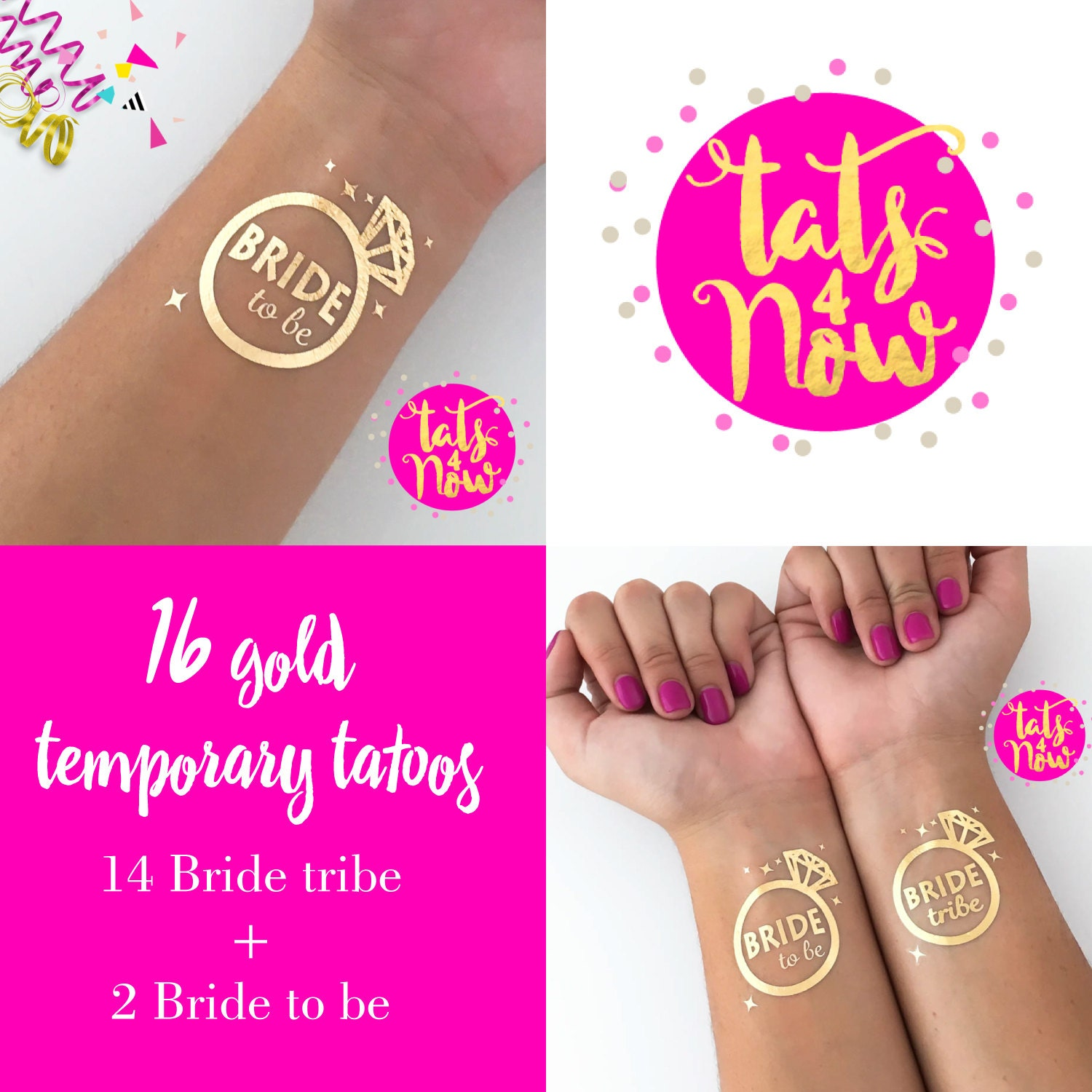 bride tribe set of 16 temporary gold tattoo 2 x