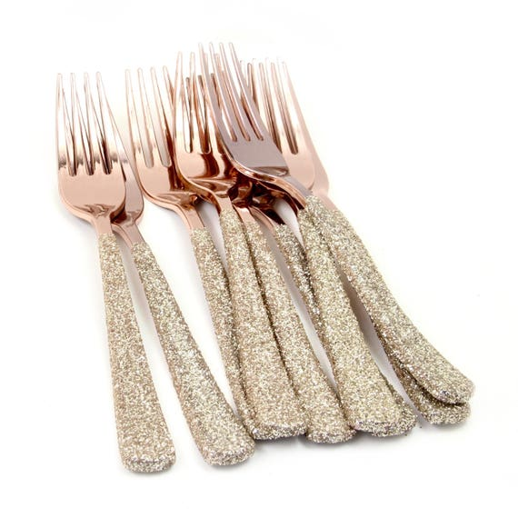 Rose Gold Plastic Fork, White Gold Glitter Silverware White Gold Utensils Disposable Party Silverware Decorative Tableware Table Settings
