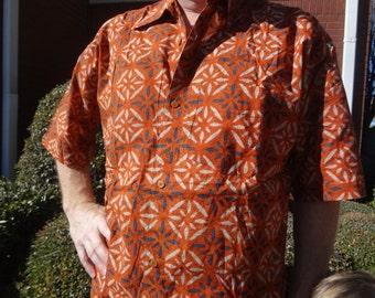 Ethnic Men's Handmade Indian Cotton Short Sleeved Button Down Pocket Shirt - Saber G754