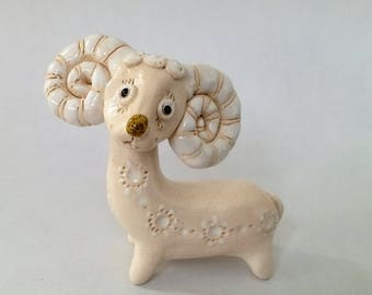 Ceramics handmade white ram, Pottery handmade ram, Handmade animal sculpture, Ceramic figurines, Ceramics and Pottery, Ceramic sculpture