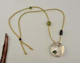 Long olive cord necklace, large pendant, chunky necklace, green cord necklace, alpaca jewelry, green tagua, geometric pendant.