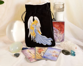 Angel - All Natural Cotton Velvet and Silk Tarot, Oracle, or Crystal bag