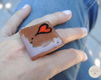 "Ceramic Ring ""red heart"""