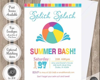 Summer bash invitations, pool party invitation, beach party invitation, splish splash invitation, family pool party invitation, bright color