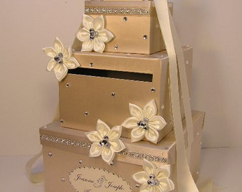 Wedding Card Box Champagne and ivory 4 tier Gift Card Box Money Box Holder--Customize your color