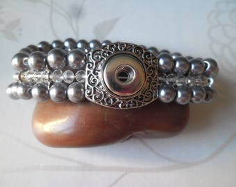 x 1 elastic bracelet glass beads gray mini snap 19.5 cm