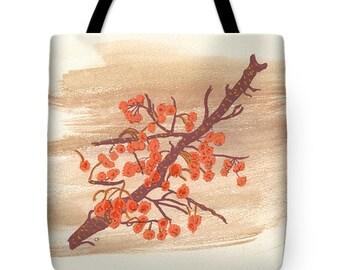 Orange Autumn Berries on Branch Watercolor Tote Purse Bag Gift Idea