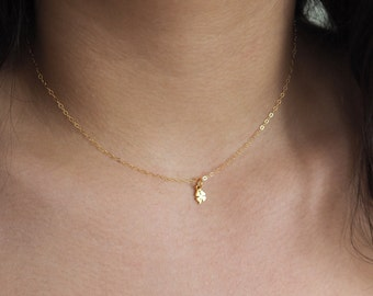 Tiny Gold Clover Necklace, Gold Chocker Necklace