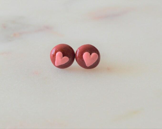 I love you earrings, handmade cute earrings, earrings for daughter,polymer clay jewelry, love jewelry, cute heart earrings, retro jewellery,