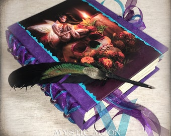 Personalized Journal / BOS / Book of Shadows / Quill Pen / Day of the Dead Art/ Spell Book / los muertos / pagan altar / spellbook
