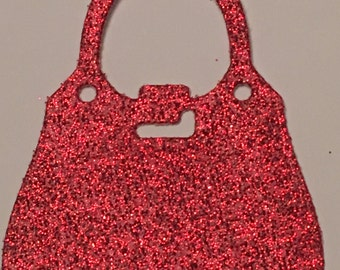 12 die cut handbags - red glitter
