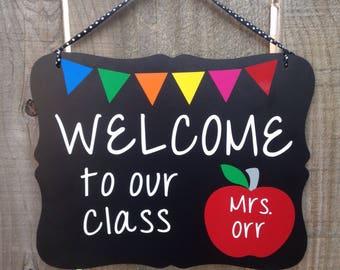 Free Ship, Personalized, Teacher Sign, Teacher Gift, Teacher Appreciation, classroom decor, custom teacher name sign, School