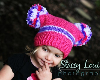 Beanie with Double Pom Pom- MADE to ORDER- Jester Style with Squared top