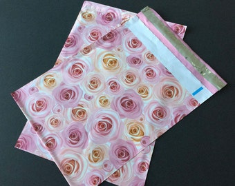 50 NEW 9x12 Designer Poly Mailers Roses Pink Peach Flowers Self Sealing Envelopes Shipping Bags