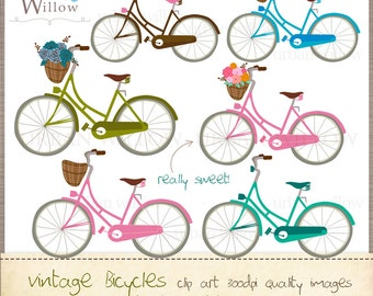 VINTAGE Bicycles. Clip art images. Png & Jpeg images. Clip art for personal and commercial use.
