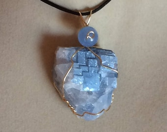 Blue Calcite Pendant Wire Wrapped Necklace Jewelry