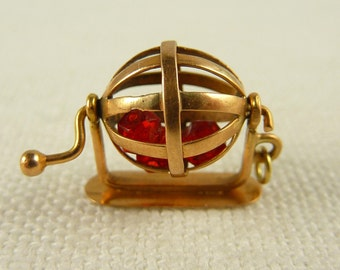 Antique 14K Gold and Glass Bead Mechanical Bingo Cage Charm