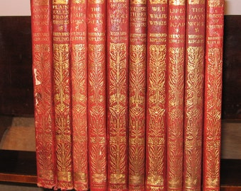 Collection Leather Bound Books by Rudyard Kipling