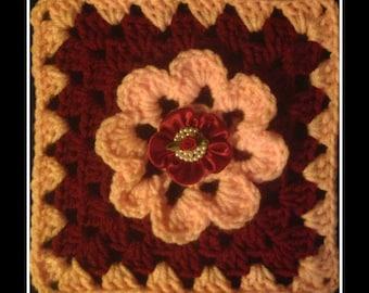 Beautiful Burgundy And Pink Afghan & Pillow Motif