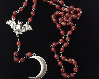 Bat/Moon red rosary