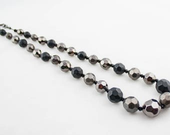 Vintage Black Gray Faceted Beaded Necklace