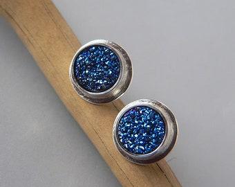 stud earrings, agate,raw silver, small earrings, ready to ship