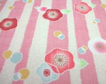 SALE Japanese Traditional Fabric Flower Camellia Stripe Pink FQ