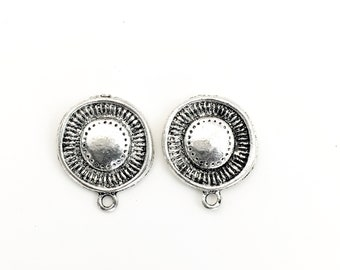 1 pair (2 pieces) of earring finding antique silver post  #FIN E 090