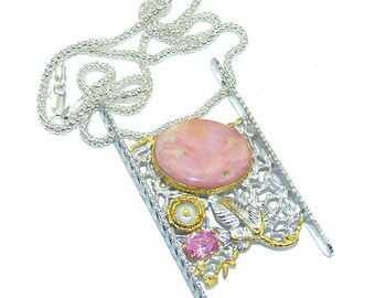 Opal, Pink Topaz Sterling Silver Necklace - weight 23.50g - dim 2 3 8 inch - code 14-kwi-16-55