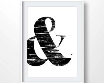 Ampersand, And Symbol, Ampersand Print, Typography Sign, Home and Living, Gallery Wall, Ampersand Wall Art, &, black white decor, 2094