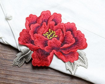 Red Flower Patches, Sew on Patches