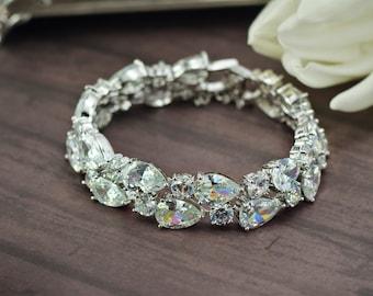 Crystal bridal bracelet Bridal cuff bracelet Cubic zirconia bracelet Bridal jewelry Wedding bracelet Cz jewelry Silver bracelet Crystal cuff