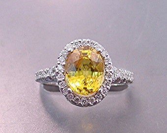 AAAA Yellow Sapphire   9x7mm  2.97 Carats   in a 14k White gold ring with diamonds (.30ct) Ring  0876