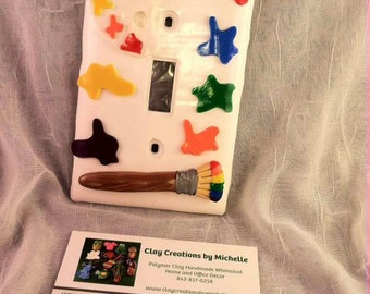 Paint Palette and Paint Brush Single Light Switch Plate